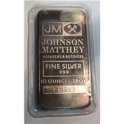 10 oz Silver Johnson Matthey Plain Back Bar