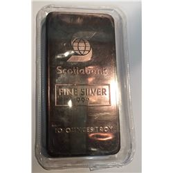 10 oz Silver Johnson Matthey Scotia Bank Bar