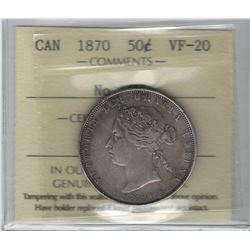 Canada 1870 Silver 50 Cent No LCW ICCS VF20. Key Variety.