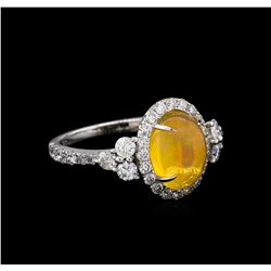 14KT White Gold 2.59 ctw Opal and Diamond Ring