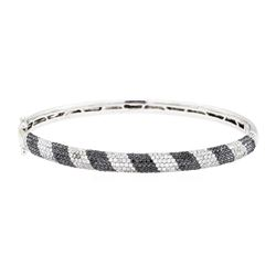 2.50 ctw Black and White Diamond Bangle Bracelet - 14KT White Gold