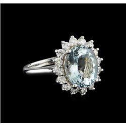 4.15 ctw Aquamarine and Diamond Ring - 14KT White Gold