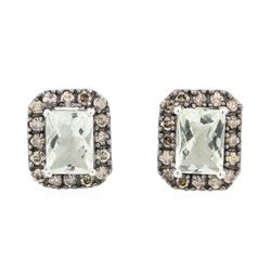 2.31 ctw Green Amethyst and Diamond Earrings - 14KT White Gold
