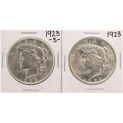 Lot of 1923 & 1923-S $1 Peace Silver Dollar Coins
