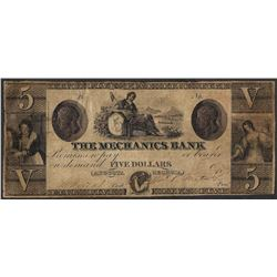 1800's $5 The Mechanics Bank Obsolete Note