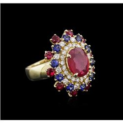 14KT Yellow Gold 4.68 ctw Ruby, Sapphire and Diamond Ring