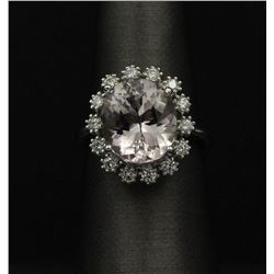 5.18 ctw Morganite and Diamond Ring - 14KT White Gold