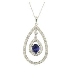 1.67 ctw Blue Sapphire Pendant With Chain - 14KT White Gold