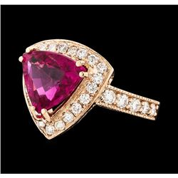 3.61 ctw Tourmaline and Diamond Ring - 14KT Rose Gold