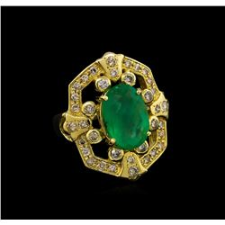 14KT Yellow Gold 3.73 ctw Emerald and Diamond Ring