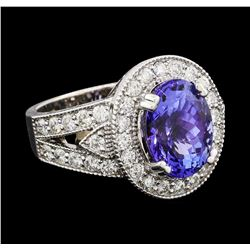 5.46 ctw Tanzanite and Diamond Ring - 14KT White Gold