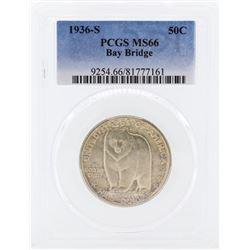 1936-S San Francisco - Oakland Bay Bridge Opening Half Dollar Coin PCGS MS66