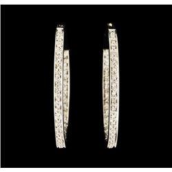 0.70 ctw Diamond Hoop Earrings - 14KT White Gold