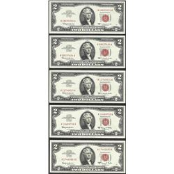Lot of (5) 1963/A $2 Legal Tender Notes