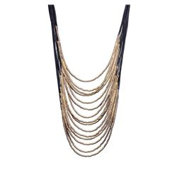 Leather Cord Necklace - Gold Plated