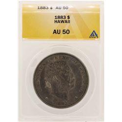 1883 $1 Kingdom of Hawaii Dollar Coin ANACS AU50
