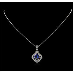 18KT White Gold 3.61 ctw Tanzanite and Diamond Pendant With Chain