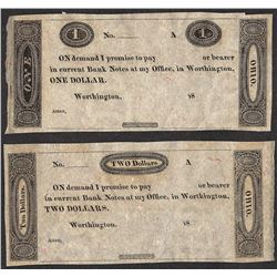 Lot of (2) Worthington Bank Fractional Obsolete Notes