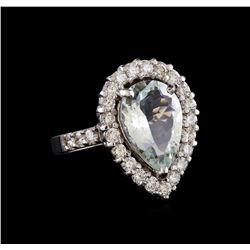 4.67 ctw Aquamarine and Diamond Ring - 14KT White Gold