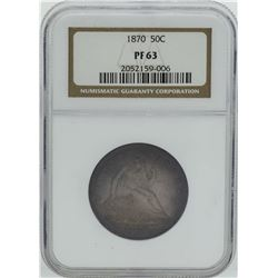 1870 Seated Liberty Proof Half Dollar Coin NGC PF63