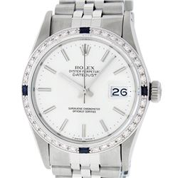 Rolex Mens Stainless Steel Silver Index Diamond & Sapphire 36MM Datejust Wristwa
