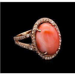 7.78 ctw Coral and Diamond Ring - 14KT Rose Gold