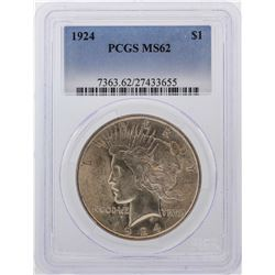 1924 $1 Peace Dollar Silver Coin PCGS MS62