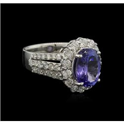 3.70 ctw Tanzanite and Diamond Ring - 14KT White Gold