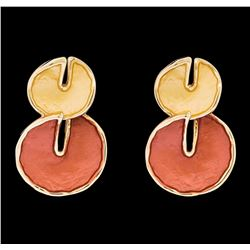 Double Circle Dangle Earrings - Rose Gold Plated
