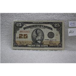 Canada Twenty-five Cent Paper