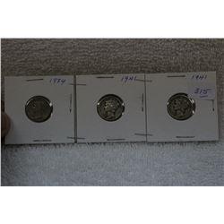 U.S.A. Ten Cent Coins (3)