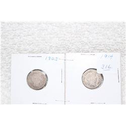 U.S.A. Ten Cent Coins (2)