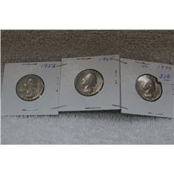 U.S.A. Twenty-five Cent Coins (3)