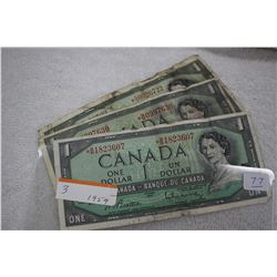 Canada One Dollar Bills (3)