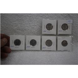 Canada Five Cent Coins (6)