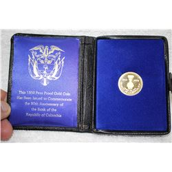 Colombia 1500 Peso Proof Gold Coin