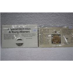 Alberta Provincial Arms Medallion (1) 1980 & B.C. 100 Yr Medallion
