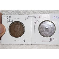Nfld. Large One Cent Coins (2)