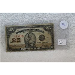 Canada Twenty-five Cent Paper Bill (1)