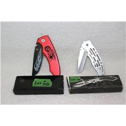 2 Lock Blade Knives - with Clips - New