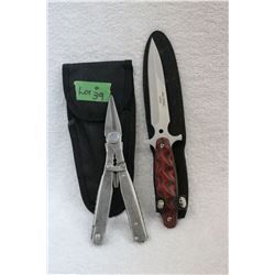 2 Knife Set - 1 Fixed Blade; 1 Multi-Tool - New
