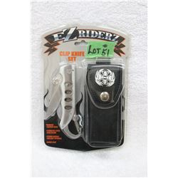 EZ Rider Collector Knife - with Clip & Sheath - New