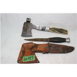 Unique Vintage Hatchet and Hunting Knife