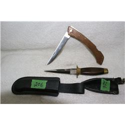 """2 Knives - 1 Dagger; 1 - 6"""" Lock Blade - with Cases"""