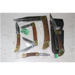 6 Wood & Bradd Lockblade Knives - 1 has a Sheath
