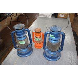 2 Blue Dietz Lanterns (both have broken globes) & a Small Red Neva Lantern