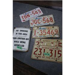 2 - 1973 Sask. License Plates; 3 Alberta Plates & a No Smoking Sign