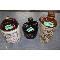2 Crock Liquor Jugs & 1 Glass Liquor Jug