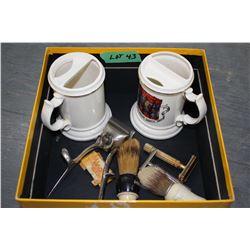 Flat of Shaving Items; 2 Moustache Mugs & a Hair Clipper