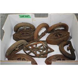 2 Iron Trivets; 5 Sad Iron Handles & 4 Taylor Forbes #2 Irons